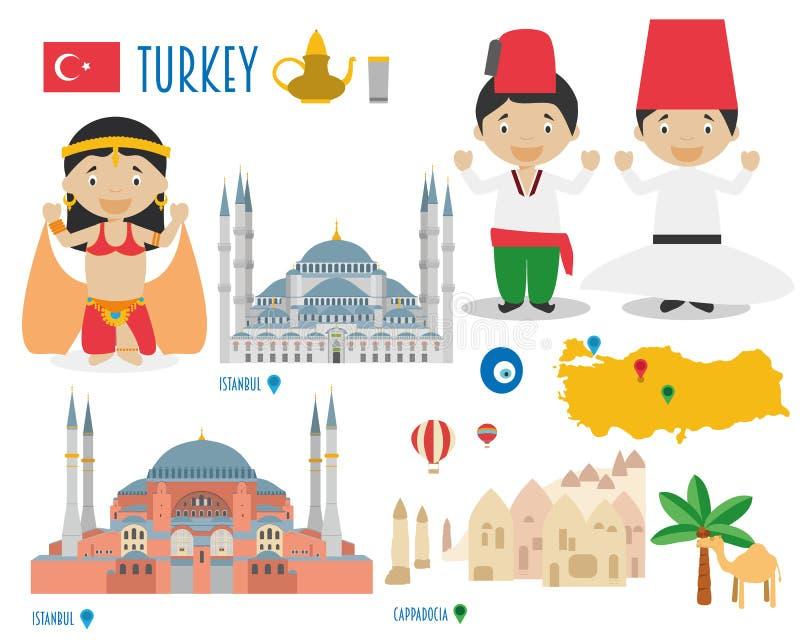 Voyage d'icône plate de la Turquie et concept réglés de tourisme illustration libre de droits