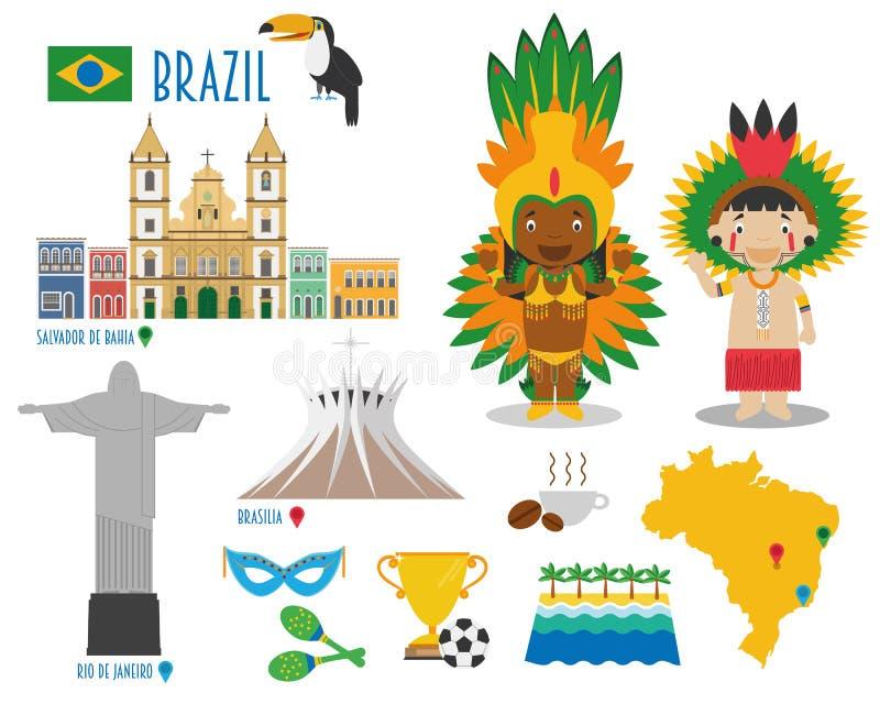Voyage d'icône plate du Brésil et concept réglés de tourisme illustration de vecteur