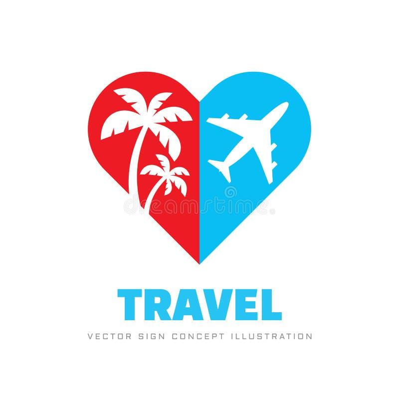 Voyage d'?t? - illustration de vecteur de calibre de logo d'affaires de concept Silhouette de coeur avec les palmiers et l'avion  illustration de vecteur