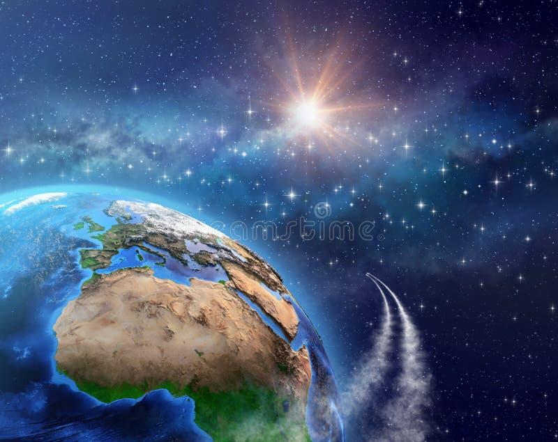 Voyage dans l'espace - satelliser la terre illustration libre de droits