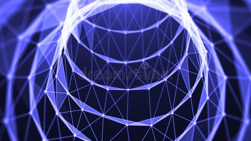 Voyage dans le tunnel de données Mouvement de vitesse à l'intérieur de câble à fibres optiques abrégez le fond illustration de vecteur