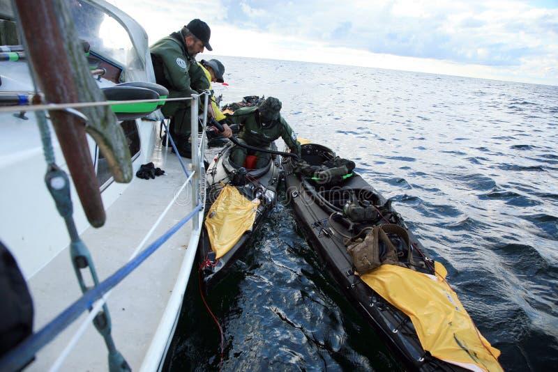 Voyage de canoë de charité - Bornholm photos stock