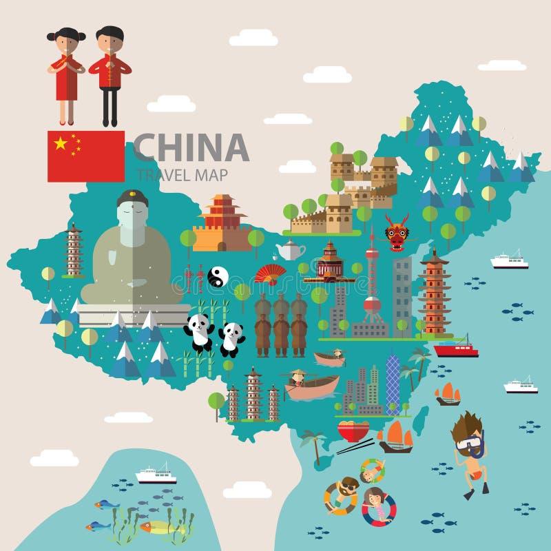 Voyage de carte de la Chine illustration stock