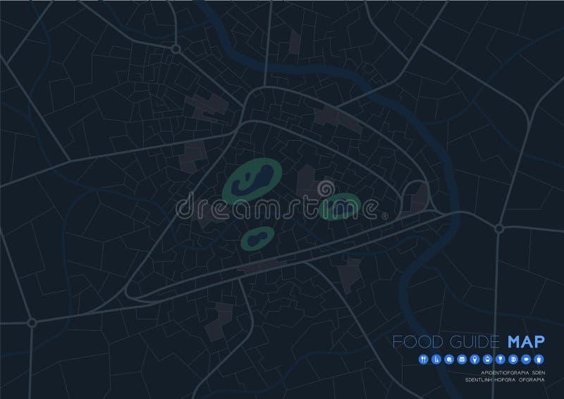 Voyage de carte de guide de nourriture avec le concept d'icône, conception de forme de pizza de route dans l'illustration de mode illustration libre de droits