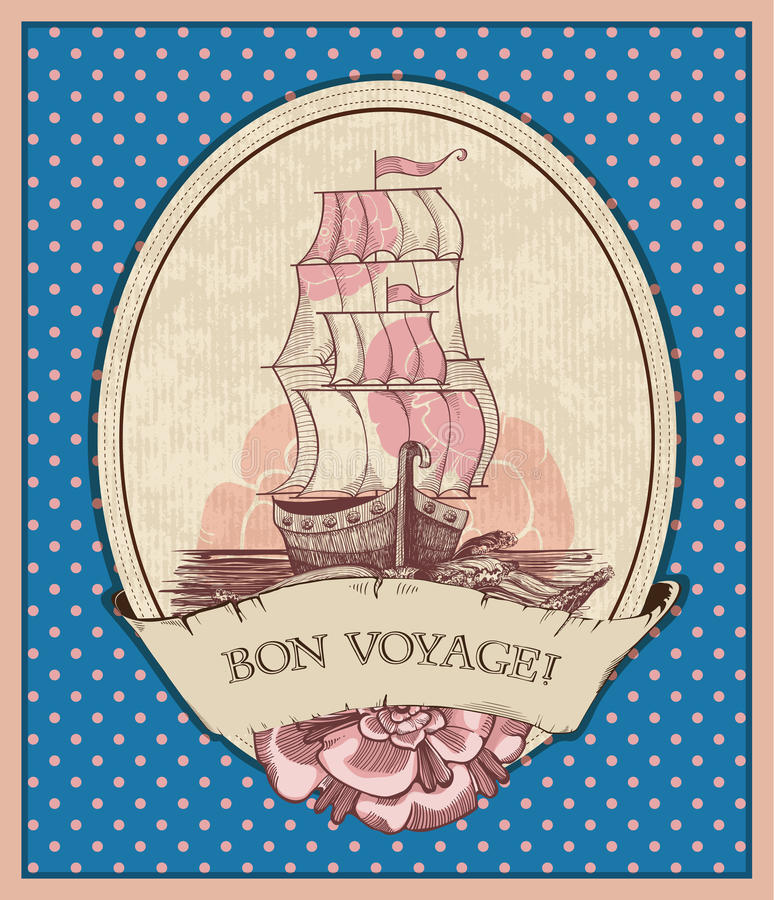 Voyage de fève ! Illustration de bateau de navigation dans le rétro style illustration de vecteur