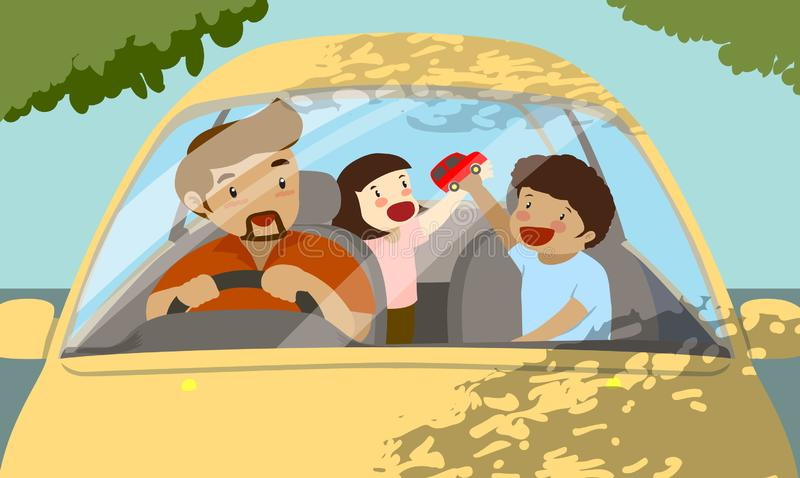Voyage de famille dans la voiture jaune, le papa simple avec deux enfants, un garçon et une fille illustration de vecteur