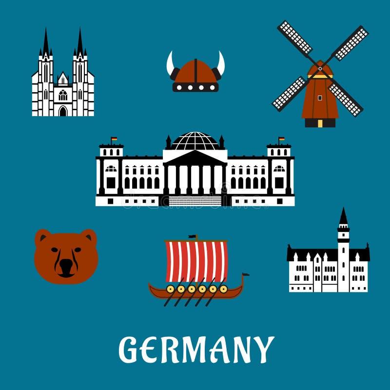 Voyage de l'Allemagne et icônes plates de tourisme illustration de vecteur