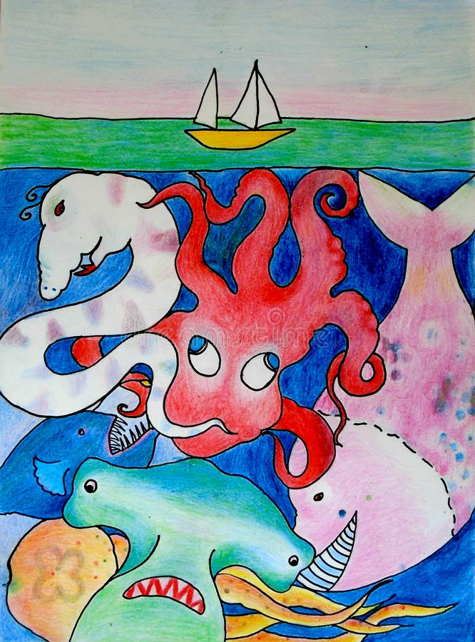 Voyage de mer illustration de vecteur