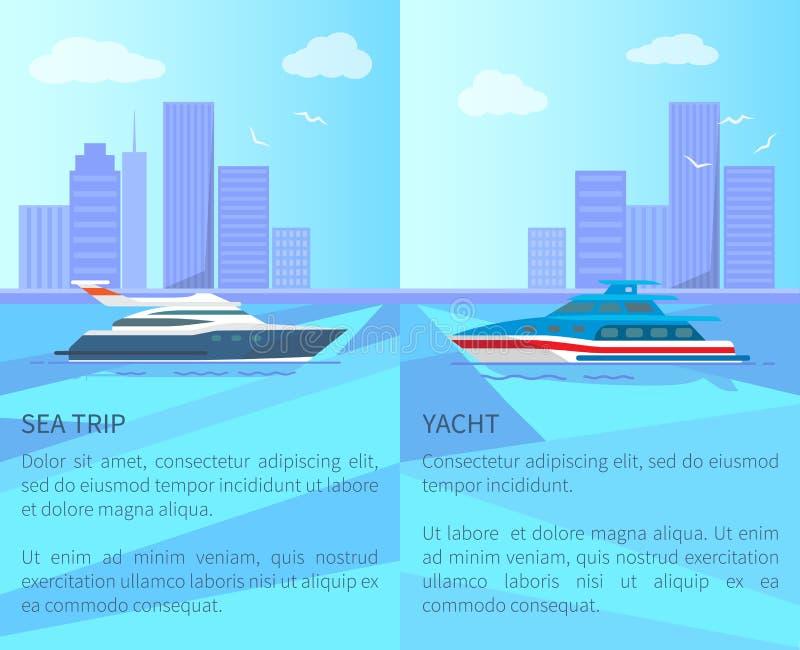 Voyage de mer sur les affiches promotionnelles de yacht luxueux illustration stock