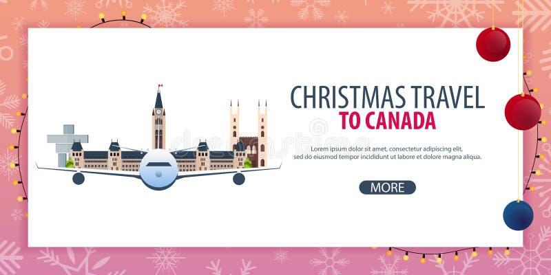 Voyage de Noël au Canada Neige et roches de bateau Illustration de vecteur illustration libre de droits