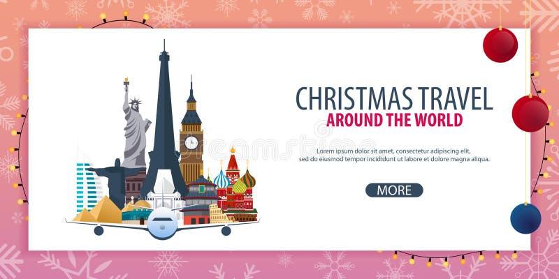 Voyage de Noël autour du monde Neige et roches de bateau Illustration de vecteur illustration de vecteur