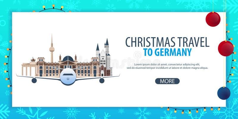 Voyage de Noël vers l'Allemagne Neige et roches de bateau Illustration de vecteur illustration stock