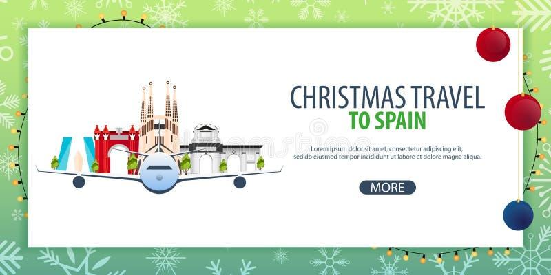 Voyage de Noël vers l'Espagne Neige et roches de bateau Illustration de vecteur illustration stock