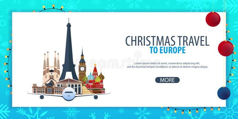 Voyage de Noël vers l'Europe Neige et roches de bateau Illustration de vecteur illustration de vecteur