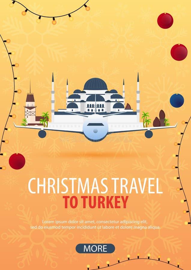 Voyage de Noël vers la Turquie Neige et roches de bateau Illustration de vecteur illustration libre de droits