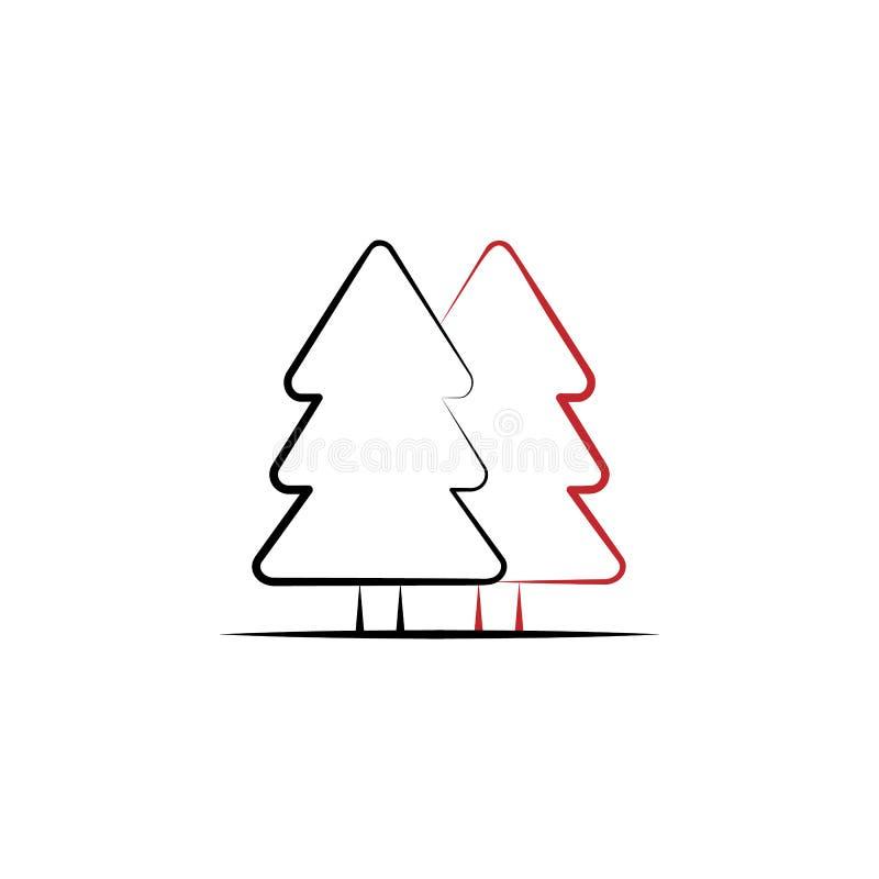 Voyage de nouvelle année, discrimination raciale icône de la forêt 2 Illustration tirée par la main simple d'élément de couleur c illustration de vecteur