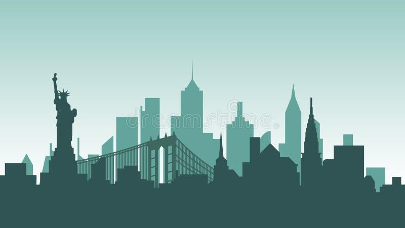 Voyage de pays de ville de ville de bâtiments d'architecture de silhouette des Etats-Unis d'Amérique illustration libre de droits