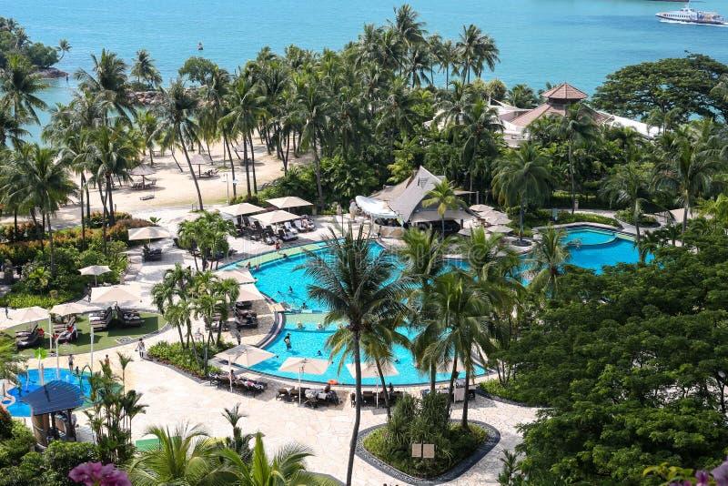 Voyage de Singapour - vue de plage en île de Sentosa photos stock