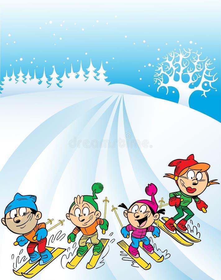 Voyage de ski de famille illustration libre de droits