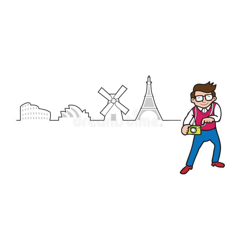 Voyage de touristes autour du contour du monde illustration libre de droits