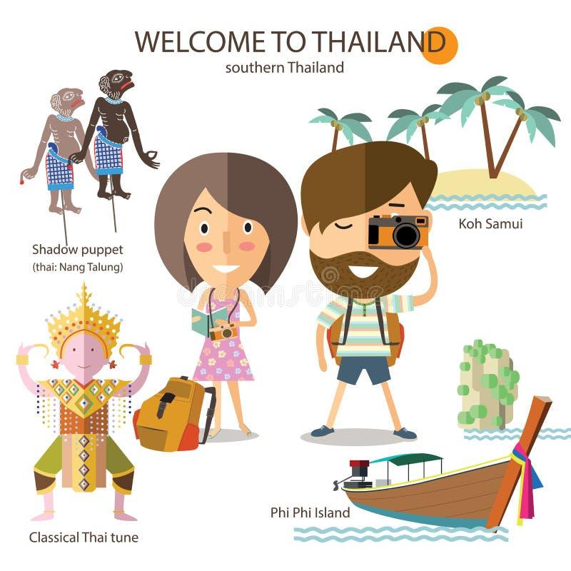 Voyage de touristes vers la Thaïlande du sud illustration stock