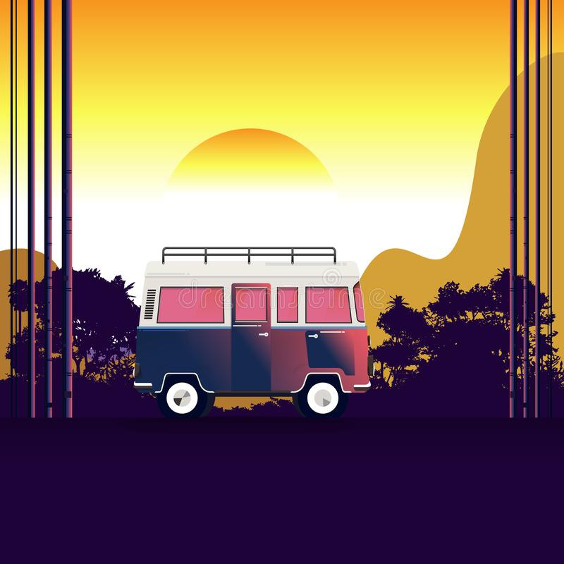 Voyage de Van sur la route près de la plage et de la montagne forêt et montagnes sur le fond Aventures en nature Vecteur illustration libre de droits