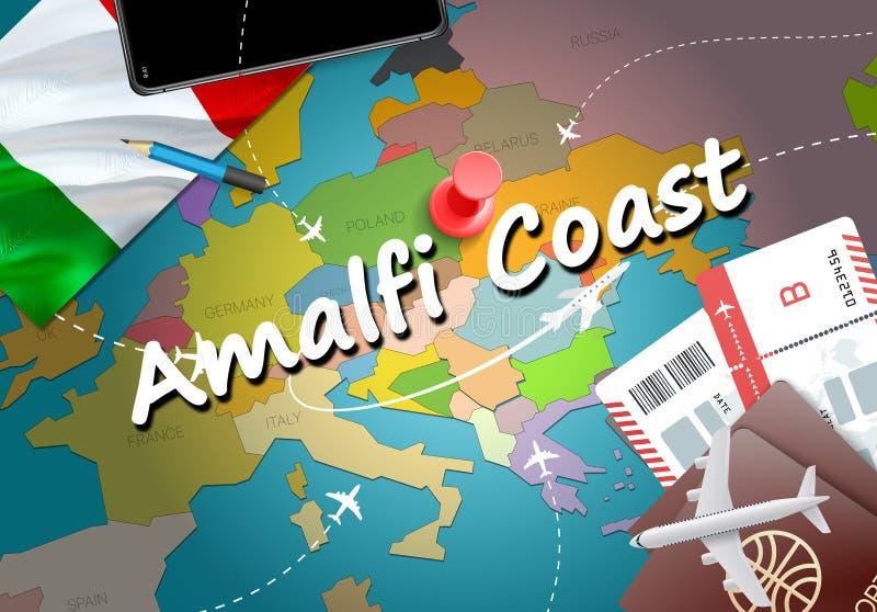 Voyage de ville de côte d'Amalfi et concept de destination de tourisme l'Italie illustration stock