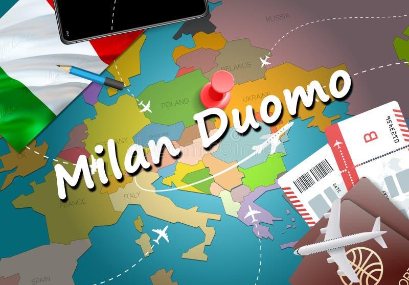 Voyage de ville de Milan Duomo et concept de destination de tourisme L'Italie f illustration de vecteur