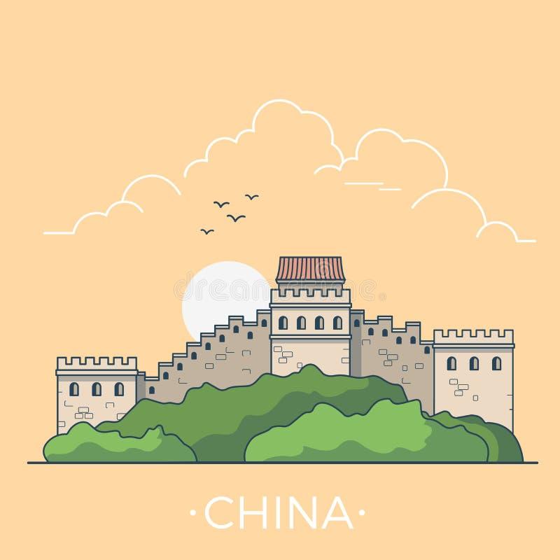 Voyage du monde dans le vecto plat linéaire de la Chine de Grande Muraille illustration stock