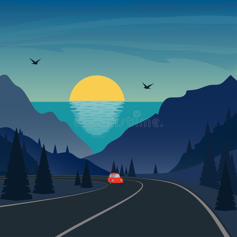 Voyage en montagnes Petits tours mignons de voiture sur la route de montagne Mer et coucher du soleil ou lever de soleil sur le f illustration stock
