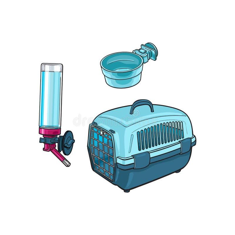 Voyage en plastique d'animal familier, transporteur de transport, cuvette de alimentation et buveur rechargeable illustration stock