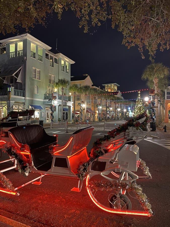 Voyage en traîneau de vacances à Celebration Florida USA photographie stock libre de droits