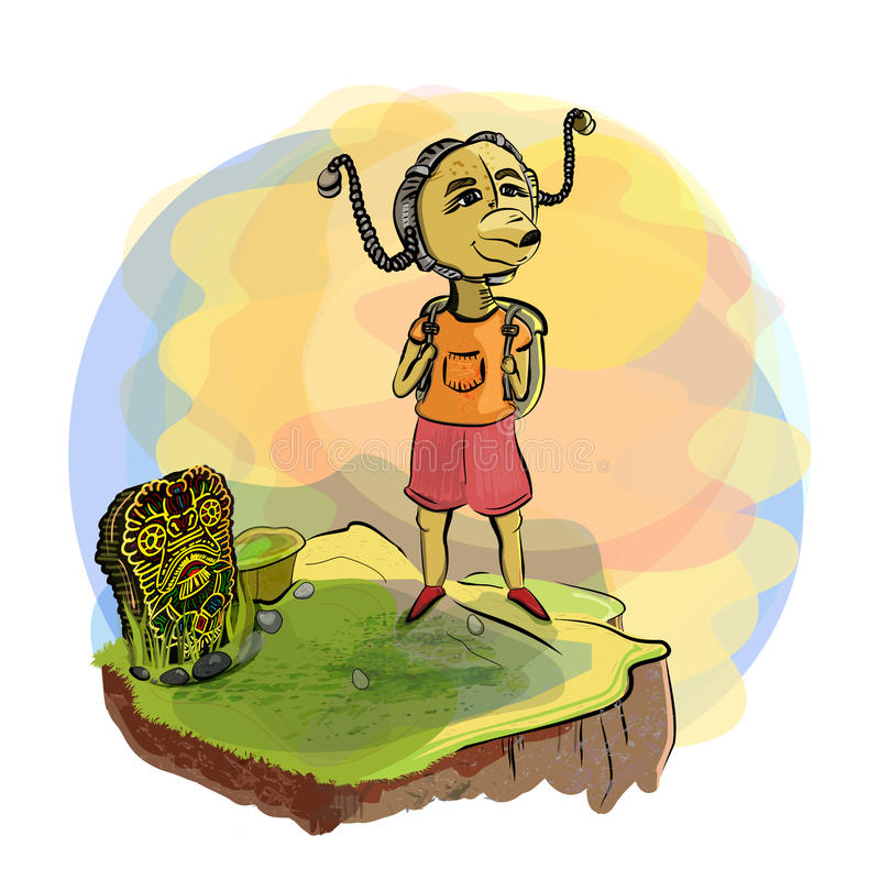 Voyage Escalader vers le haut la montagne Une créature fantastique dans un steampunk de casque et divinité hawaïenne sur la colli illustration libre de droits