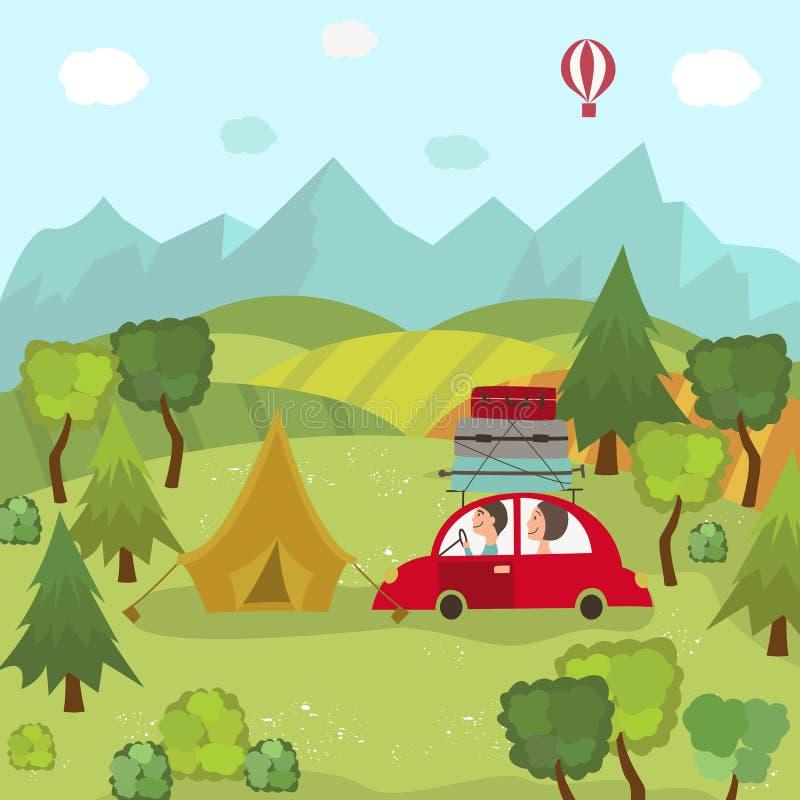 Voyage et camping de voiture familiale dans la campagne, champs illustration libre de droits