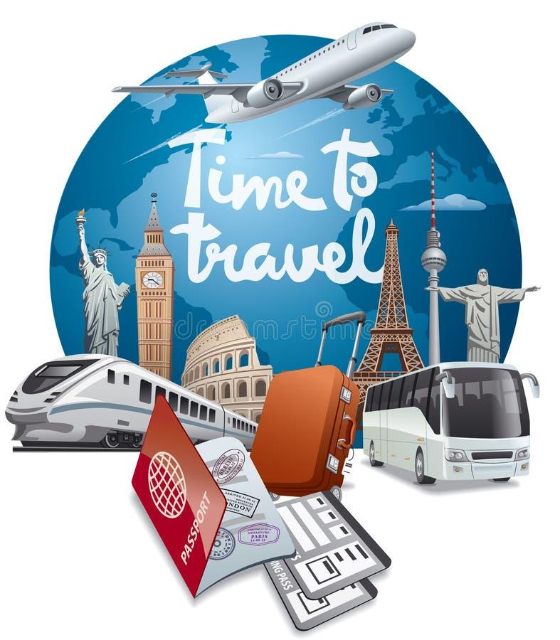 Voyage et voyage du monde illustration de vecteur