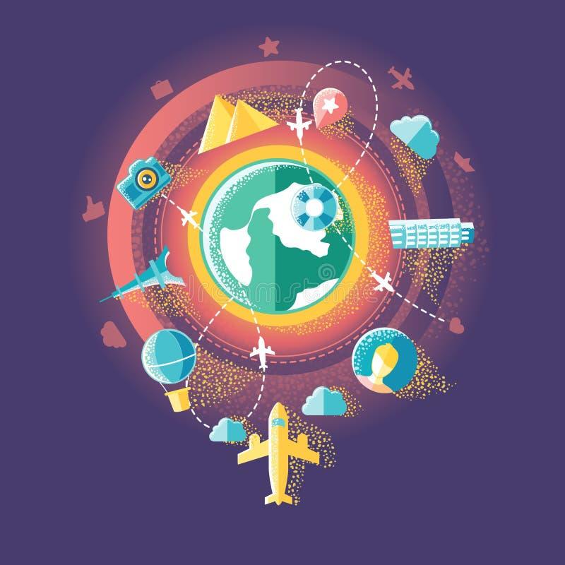 Voyage et media social illustration de vecteur