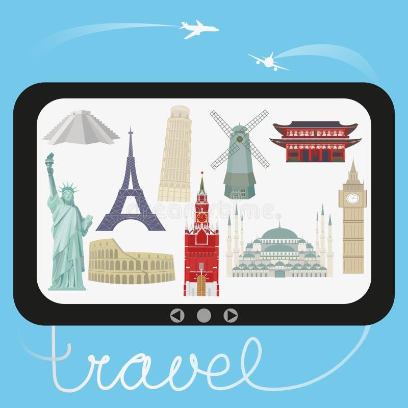 Voyage et tourisme Illustration de vecteur avec les points de repère architecturaux du monde illustration libre de droits