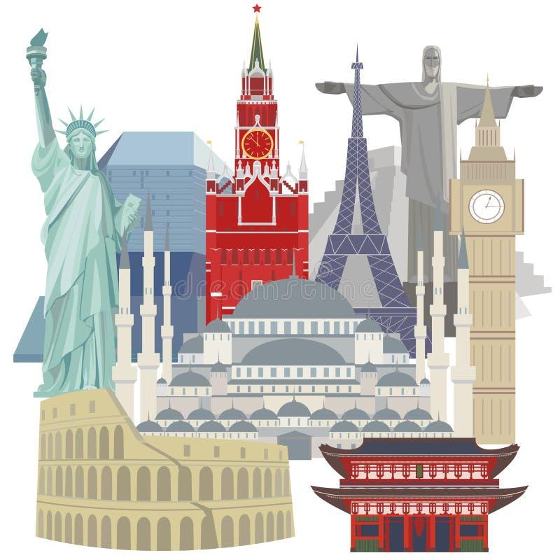Voyage et tourisme Images colorées de vecteur des symboles architecturaux du monde illustration de vecteur