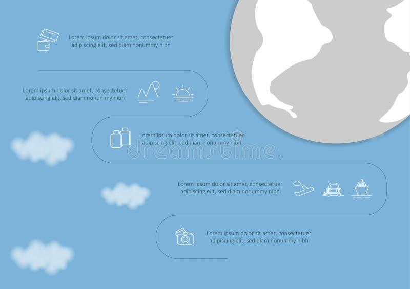 Voyage et tourisme Infographic a plac? avec des diagrammes et d'autres ?l?ments Illustration de vecteur illustration libre de droits