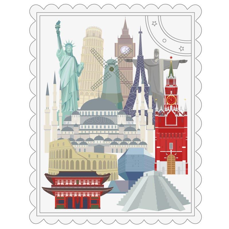 Voyage et tourisme Points de repère architecturaux du monde illustration de vecteur