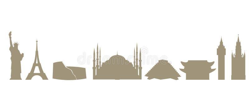 Voyage et tourisme Un ensemble d'icônes dépeignant les points de repère architecturaux du monde Vecteur illustration de vecteur