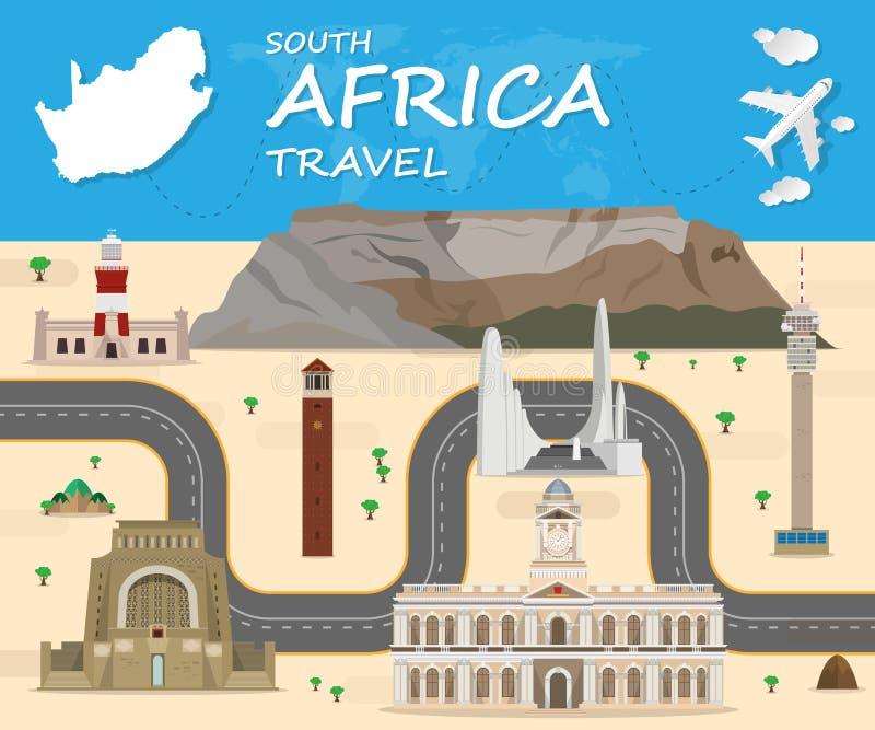 Voyage et voyage globaux de point de repère de fond de voyage de l'Afrique du Sud illustration libre de droits