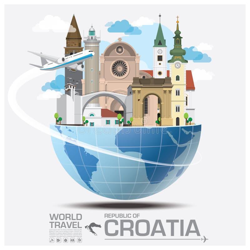 Voyage et voyage globaux Infograph de point de repère de la république de Croatie illustration de vecteur