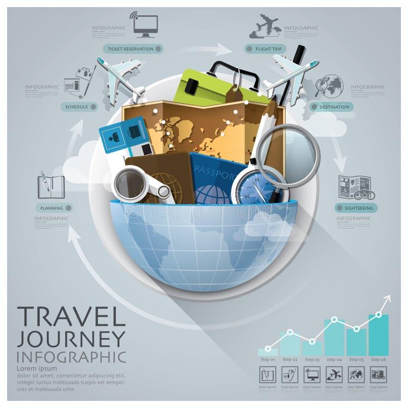 Voyage et voyage globaux Infographic avec le diagramme rond de cercle illustration libre de droits