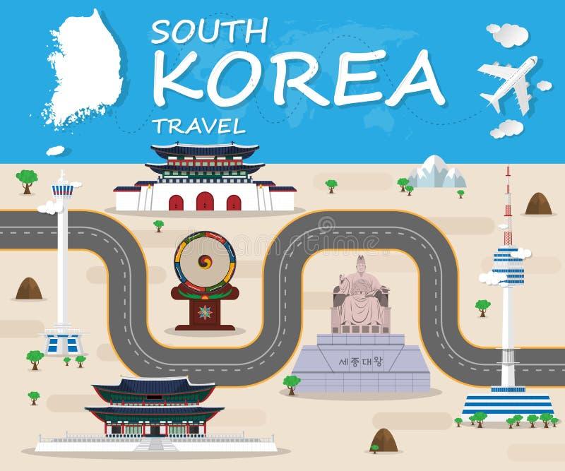 Voyage et voyage globaux Infographic de point de repère de la république de Corée illustration stock