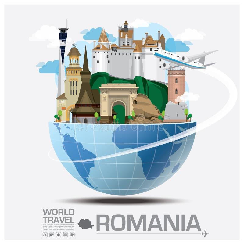 Voyage et voyage globaux Infographic de point de repère de la Roumanie illustration de vecteur