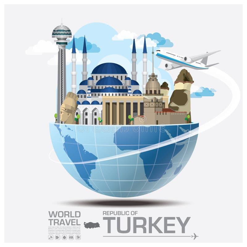 Voyage et voyage globaux Infographic de point de repère de la Turquie illustration stock