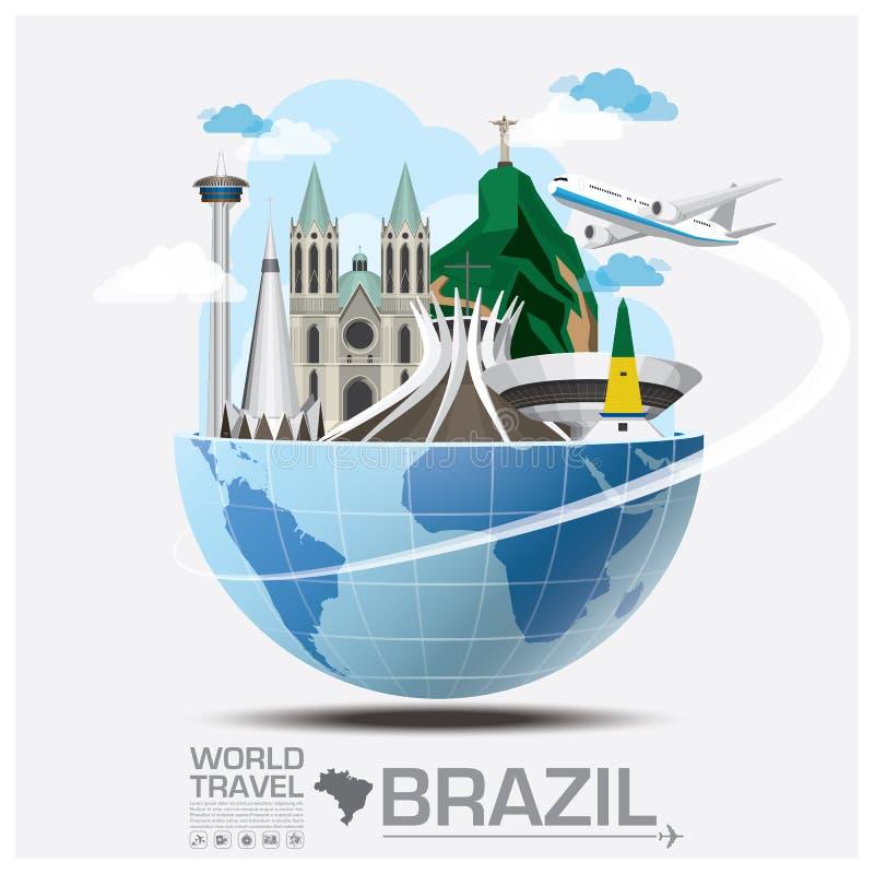 Voyage et voyage globaux Infographic de point de repère du Brésil illustration stock