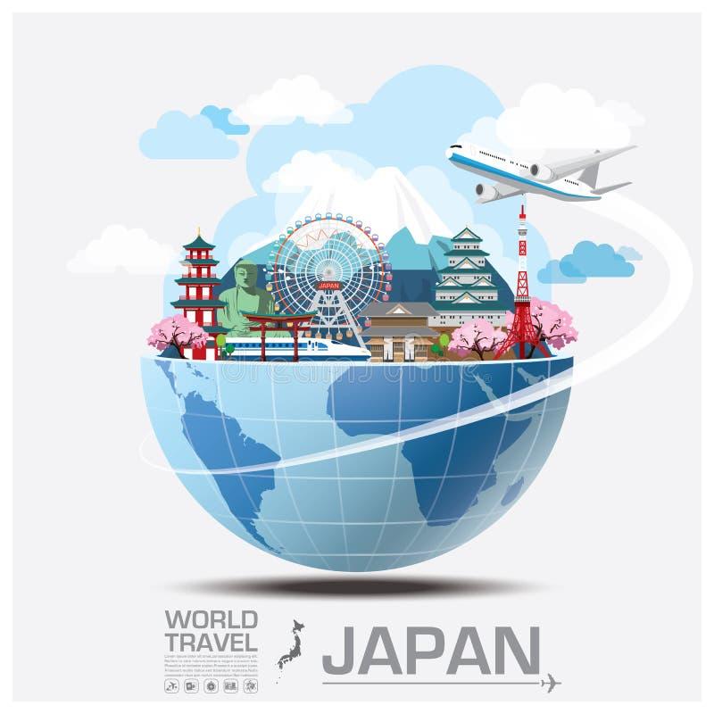 Voyage et voyage globaux Infographic de point de repère du Japon illustration de vecteur