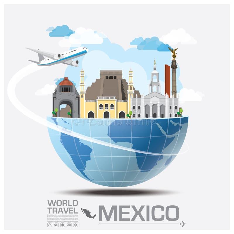 Voyage et voyage globaux Infographic de point de repère du Mexique illustration libre de droits